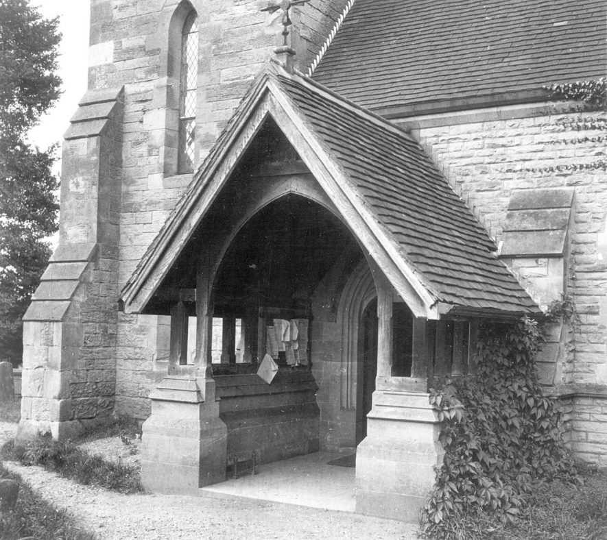 The porch at the entrance to St James church, Old Milverton.  1950s |  IMAGE LOCATION: (Warwickshire County Record Office)