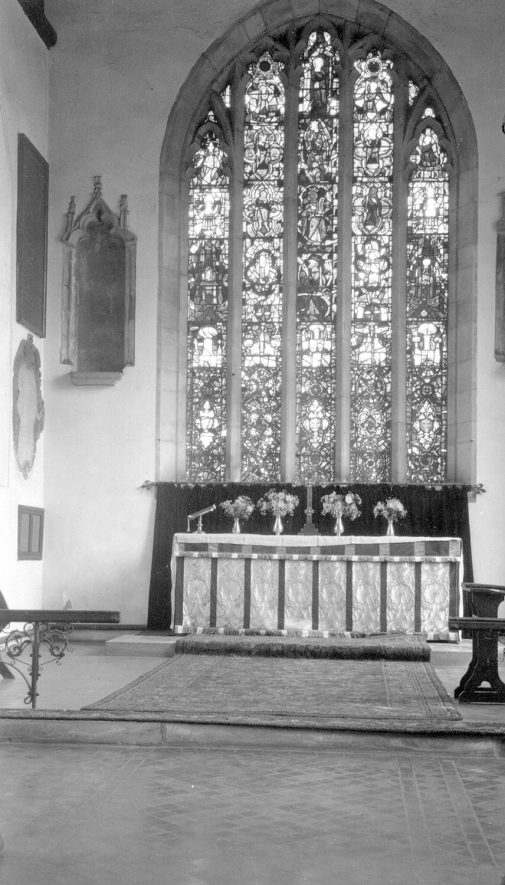 The altar and stained glass windows in St Peter's church, Mancetter.  August 6th 1940 |  IMAGE LOCATION: (Warwickshire County Record Office)