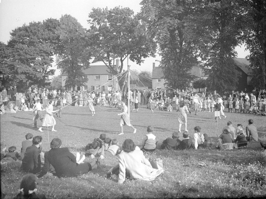 Maypole dancers at Long Itchington.  June 2nd 1951 |  IMAGE LOCATION: (Warwickshire County Record Office)