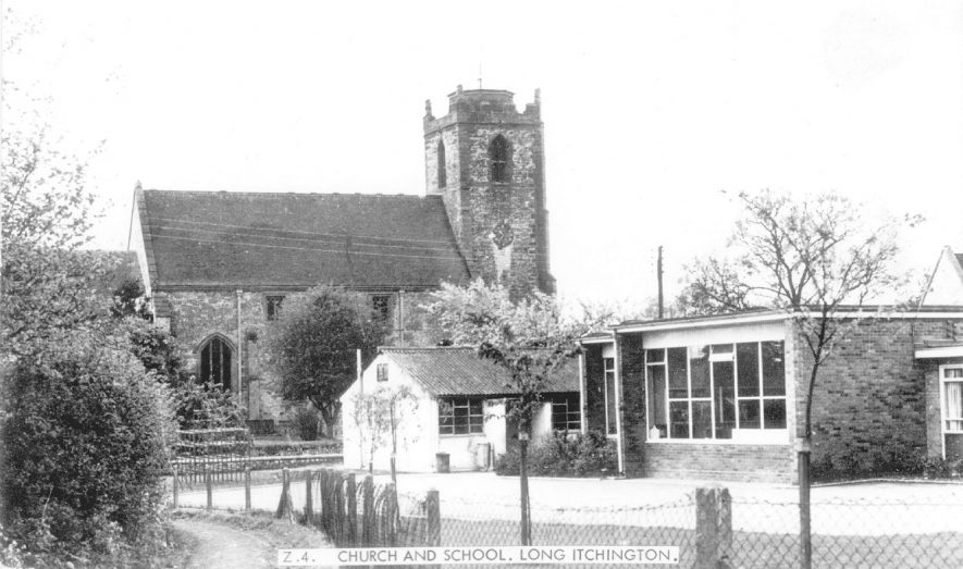Long Itchington school buildings and Holy Trinity Church.  1965 |  IMAGE LOCATION: (Warwickshire County Record Office)