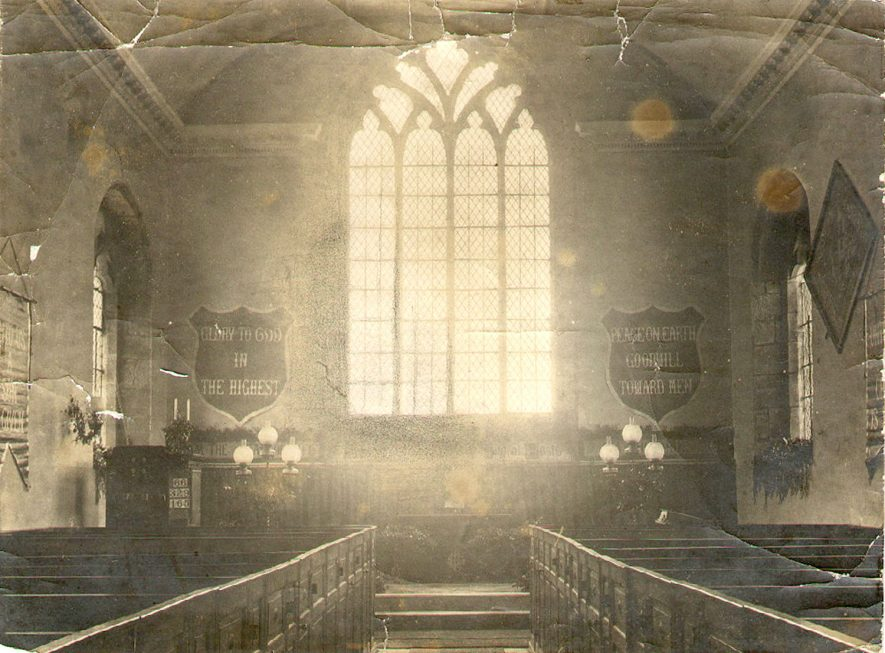 Interior view of St Michael's church, Maxstoke.  1960s |  IMAGE LOCATION: (Warwickshire County Record Office)