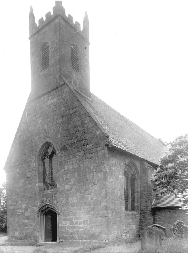 The west end of St Michael's Church, Maxstoke.  1950s |  IMAGE LOCATION: (Warwickshire County Record Office)