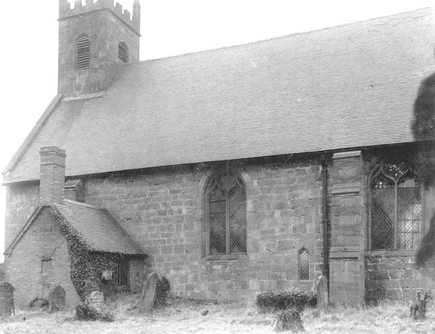 The north side of the outside of St Michael's Church, Maxstoke.  1950s |  IMAGE LOCATION: (Warwickshire County Record Office)