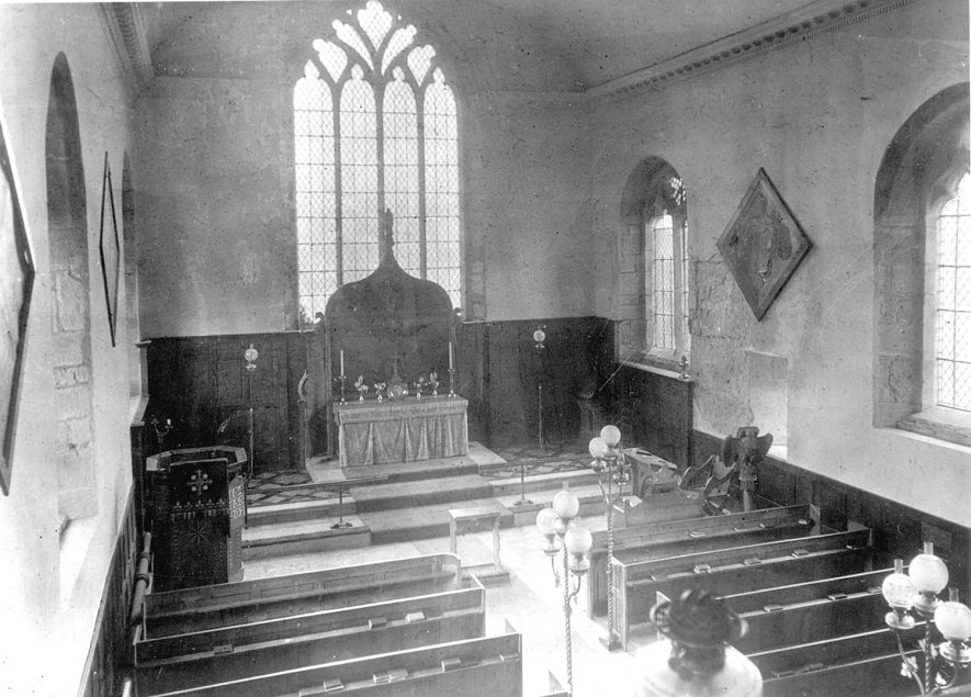 The interior, looking east, of St Michael's Church, Maxstoke.  1950s |  IMAGE LOCATION: (Warwickshire County Record Office)