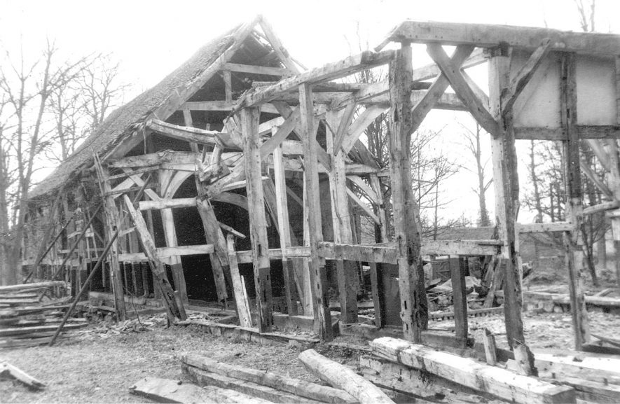 A barn under demolition in Maxstoke.  1965    IMAGE LOCATION: (Warwickshire County Record Office)