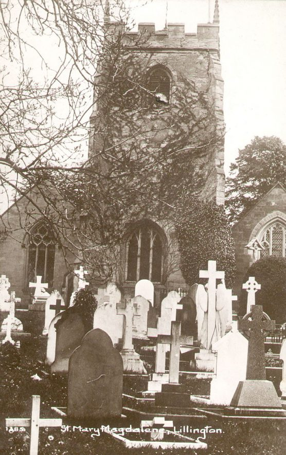 St Mary Magdalene church and churchyard, Lillington.  1920s |  IMAGE LOCATION: (Warwickshire County Record Office)