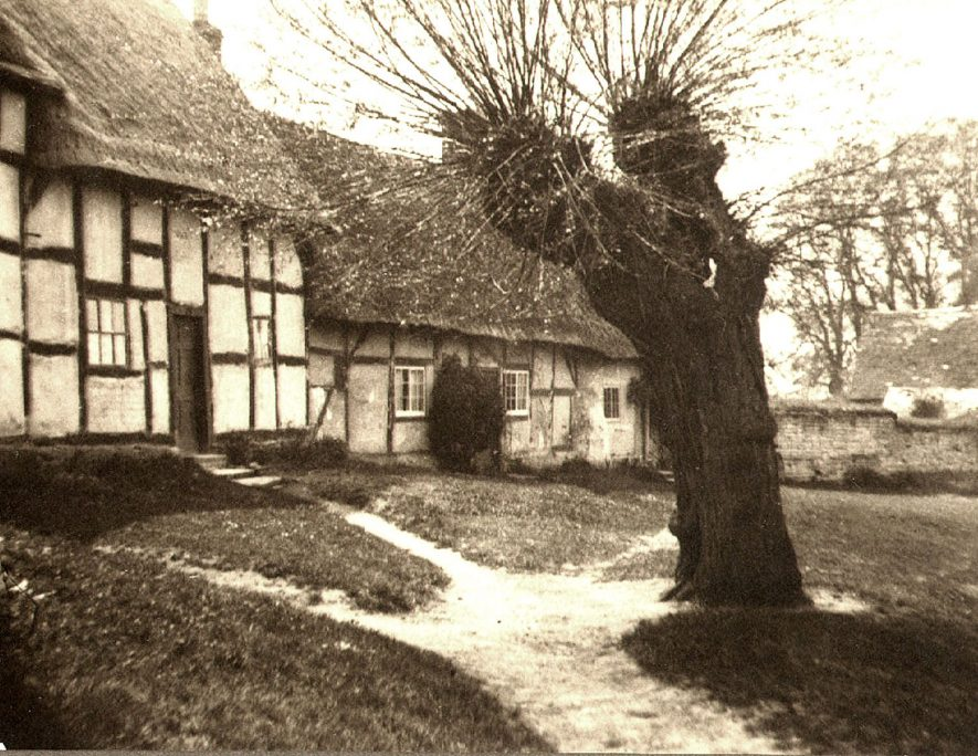Thatched and timbered cottages, Welford on Avon.  1930s |  IMAGE LOCATION: (Warwickshire County Record Office)
