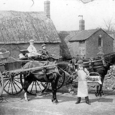 Cherington.  Baker Boys with horses and carts