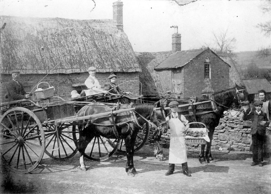 Baker boys with horses and carts in Cherington.  1910s |  IMAGE LOCATION: (Warwickshire County Record Office)