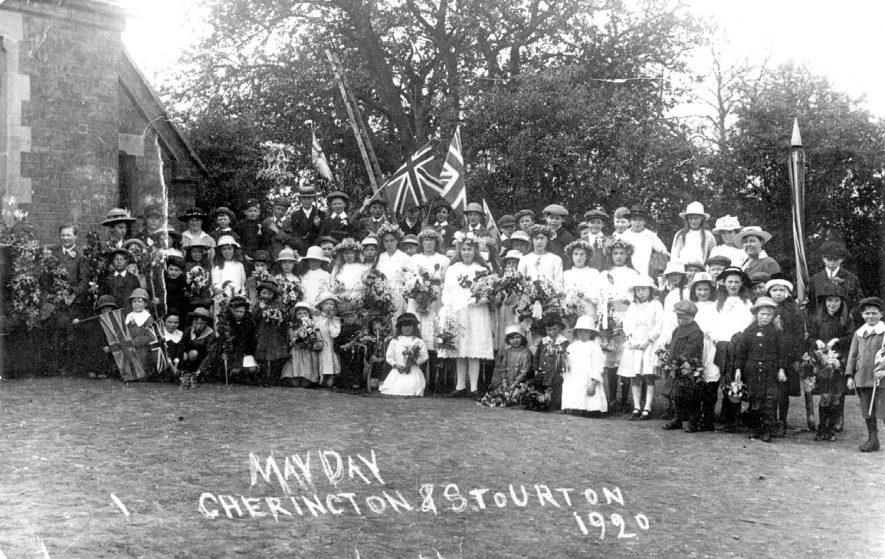 Group of children and adults celebrating May Day, Cherington.  1920 |  IMAGE LOCATION: (Warwickshire County Record Office)