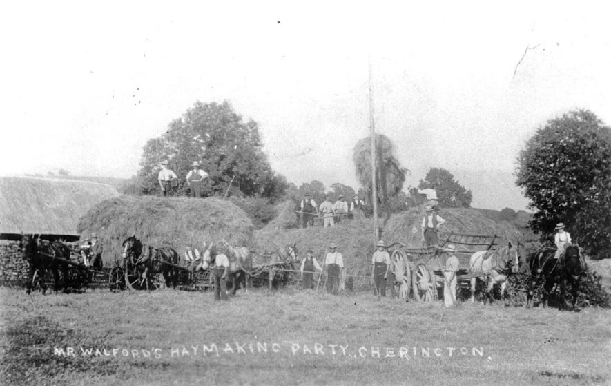 Mr Walford's haymaking party at Cherington.  1920s |  IMAGE LOCATION: (Warwickshire County Record Office)