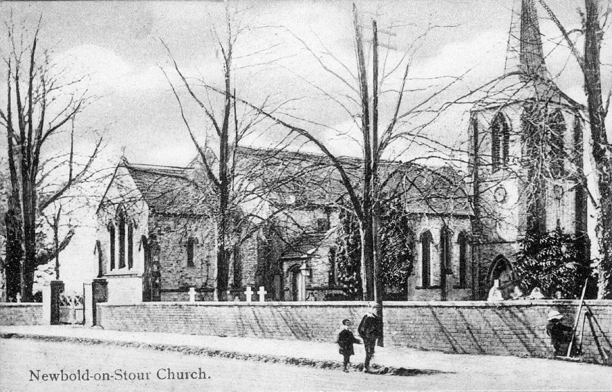 Parish Church of St David from the north east, with three children also in view, Newbold on Stour.  1900s |  IMAGE LOCATION: (Warwickshire County Record Office)