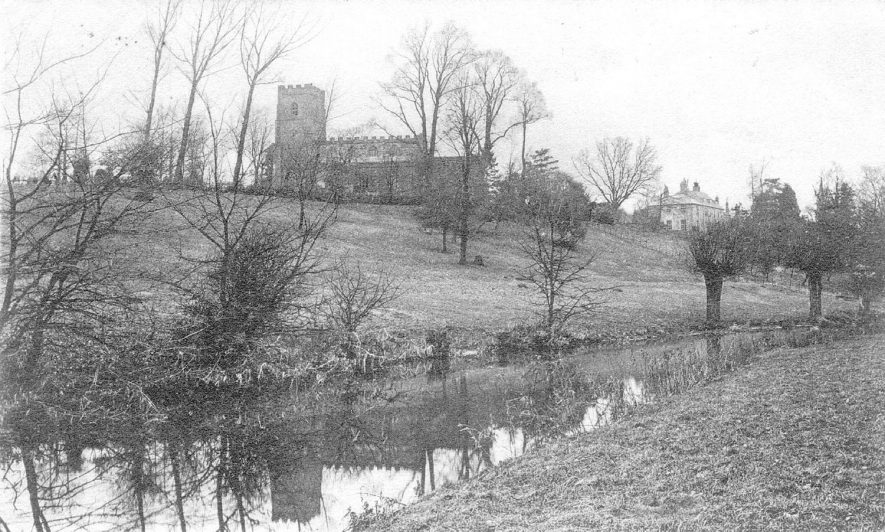 St Botolph's Church with River Avon below, Newbold on Avon.  1905 |  IMAGE LOCATION: (Warwickshire County Record Office)