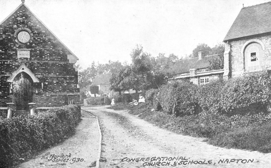 Street with Congregational Church and part of the school building, Napton on the Hill.  1905 |  IMAGE LOCATION: (Warwickshire County Record Office)