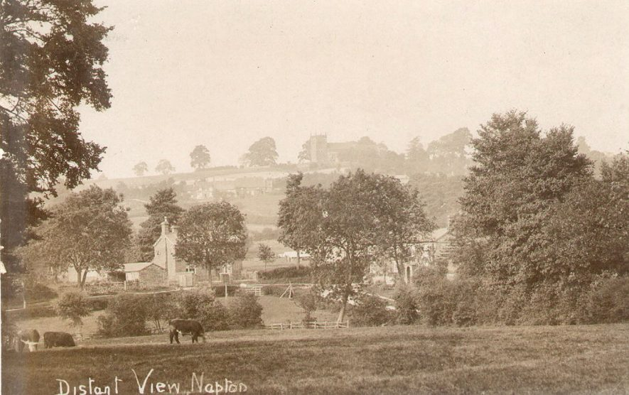 View of Napton on the Hill from the south, looking up towards the church.  1910s |  IMAGE LOCATION: (Warwickshire County Record Office)