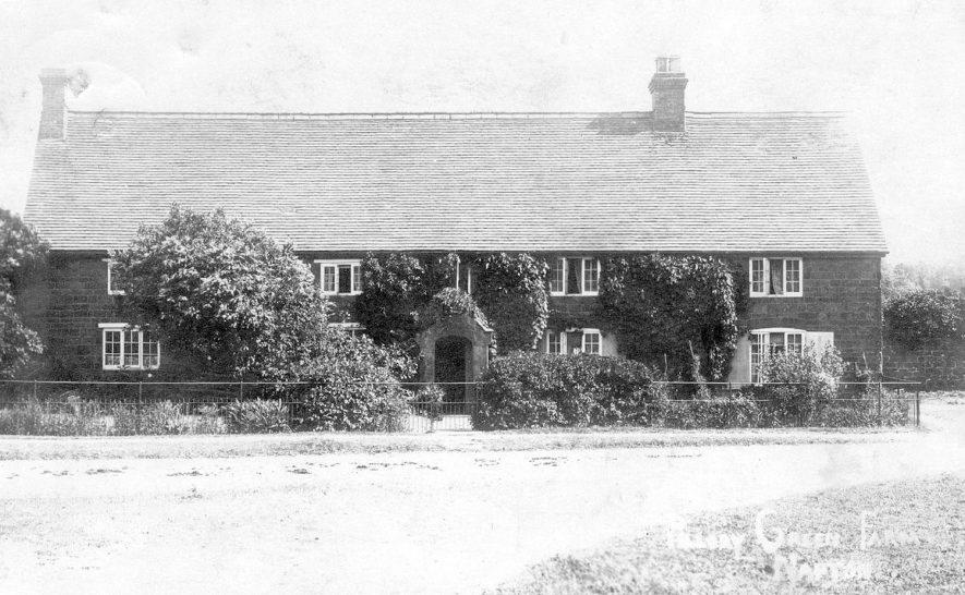 Exterior of Pillory Green farmhouse, Napton on the Hill.  1920s [This is opposite the Christadelphian Meeting House at the junction of New St. and Howcombe Lane.] |  IMAGE LOCATION: (Warwickshire County Record Office)