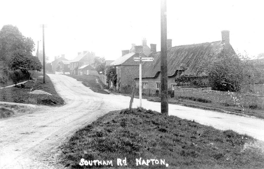 End of Southam Road, looking west, Napton on the Hill.  1920s |  IMAGE LOCATION: (Warwickshire County Record Office)
