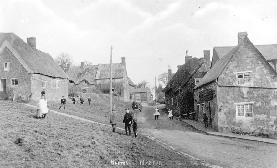 Crown Green looking up Hackwell Street, Napton on the Hill.  1900s |  IMAGE LOCATION: (Warwickshire County Record Office)