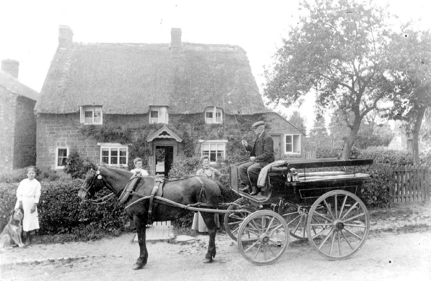 Mr Allsop with his pony and trap in front of Rose Cottage, Howcombe Hill (now Lane), Napton on the Hill.  1890s |  IMAGE LOCATION: (Warwickshire County Record Office) PEOPLE IN PHOTO: Allsop, Mr, Allsop as a surname