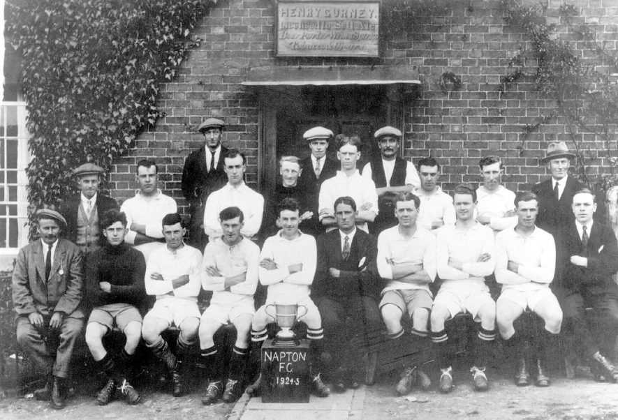 Napton on the Hill football club outside the Crown Inn.  1924/5 |  IMAGE LOCATION: (Warwickshire County Record Office)