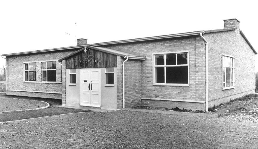Exterior of The Victory Club, Napton on the Hill.  1956 |  IMAGE LOCATION: (Warwickshire County Record Office) PEOPLE IN PHOTO: Watson, Cyril, Shuckburgh, Sir Charles