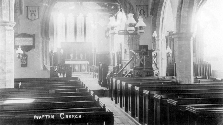 Interior of St Lawrence's church, Napton on the Hill.  1900s |  IMAGE LOCATION: (Warwickshire County Record Office)