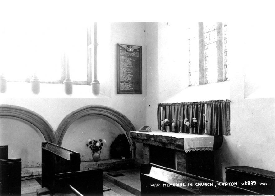 War Memorial in St Lawrence's church, Napton on the Hill.  1900s    IMAGE LOCATION: (Warwickshire County Record Office)