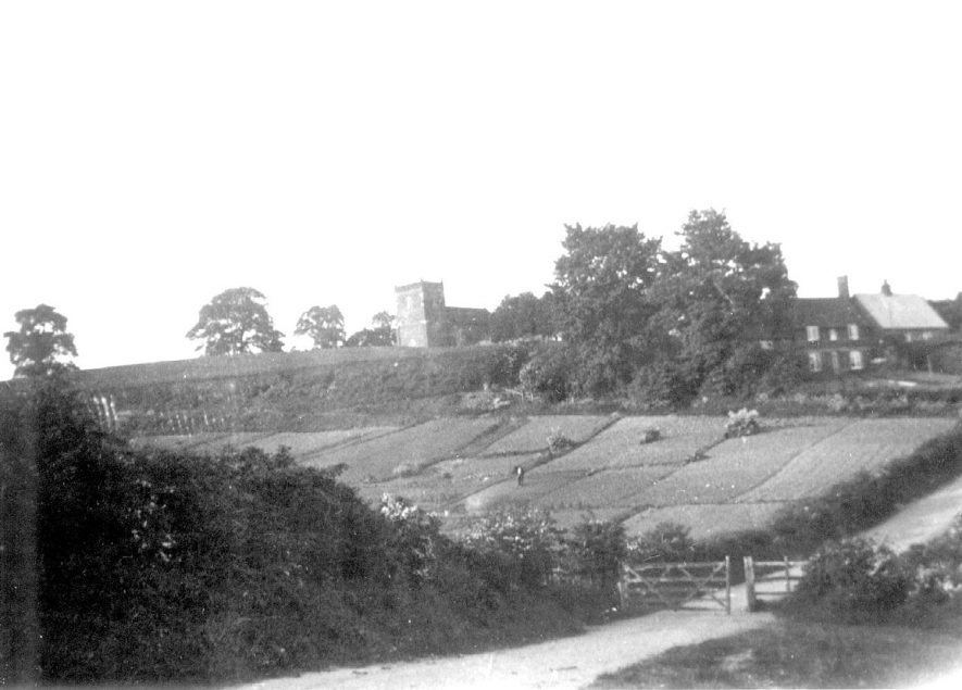 View of Napton on the Hill church and part of village from the fields.  1928 |  IMAGE LOCATION: (Warwickshire County Record Office)
