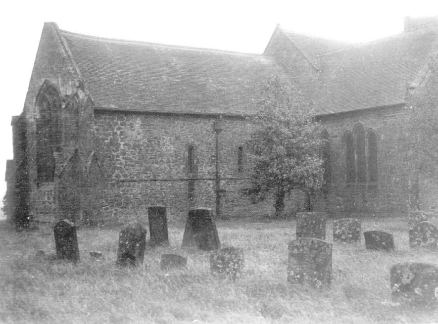 Part of exterior of Napton on the Hill parish church.  1900s |  IMAGE LOCATION: (Warwickshire County Record Office)