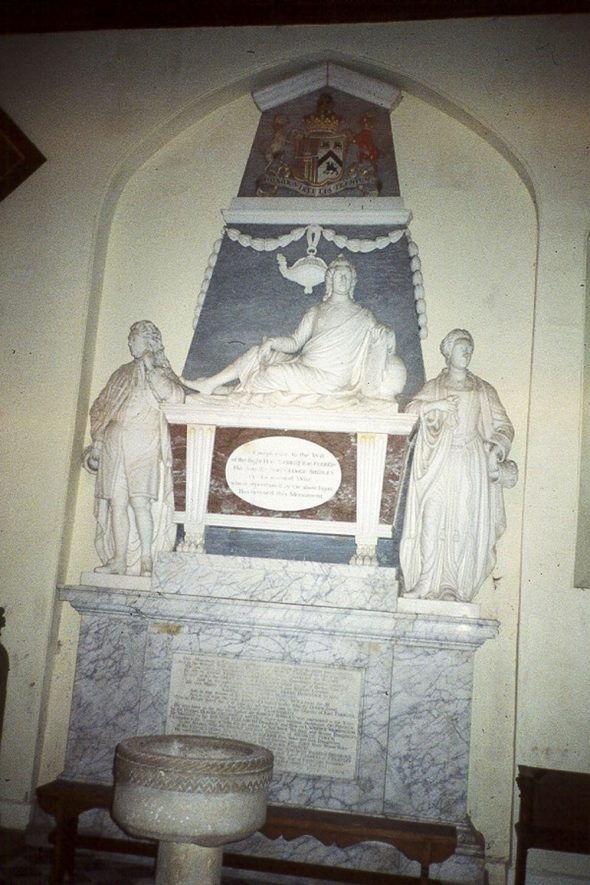 Tomb of the Shirley Family in Holy Trinity church, Ettington.  1980s |  IMAGE LOCATION: (Warwickshire County Record Office)