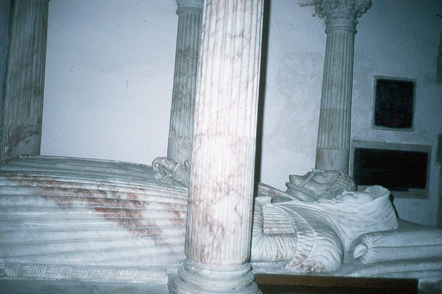 Tomb of the Throckmorton Family in St Peter's Church of England, Coughton.  1980s |  IMAGE LOCATION: (Warwickshire County Record Office)