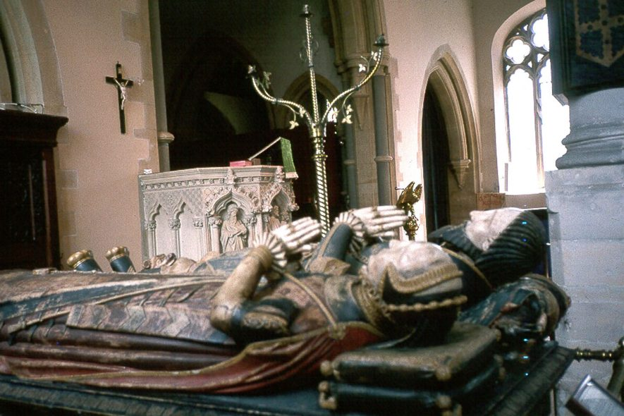 The tomb of Sir Fulke and Lady Greville in St Nicholas church, Alcester.  1980s |  IMAGE LOCATION: (Warwickshire County Record Office)