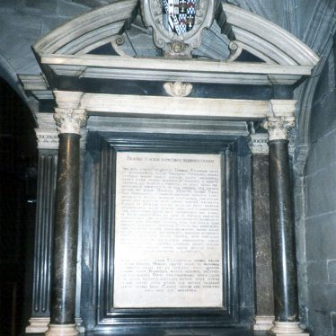 The Monument to Thomas Puckering in St Mary's church, Warwick.  1980s |  IMAGE LOCATION: (Warwickshire County Record Office)