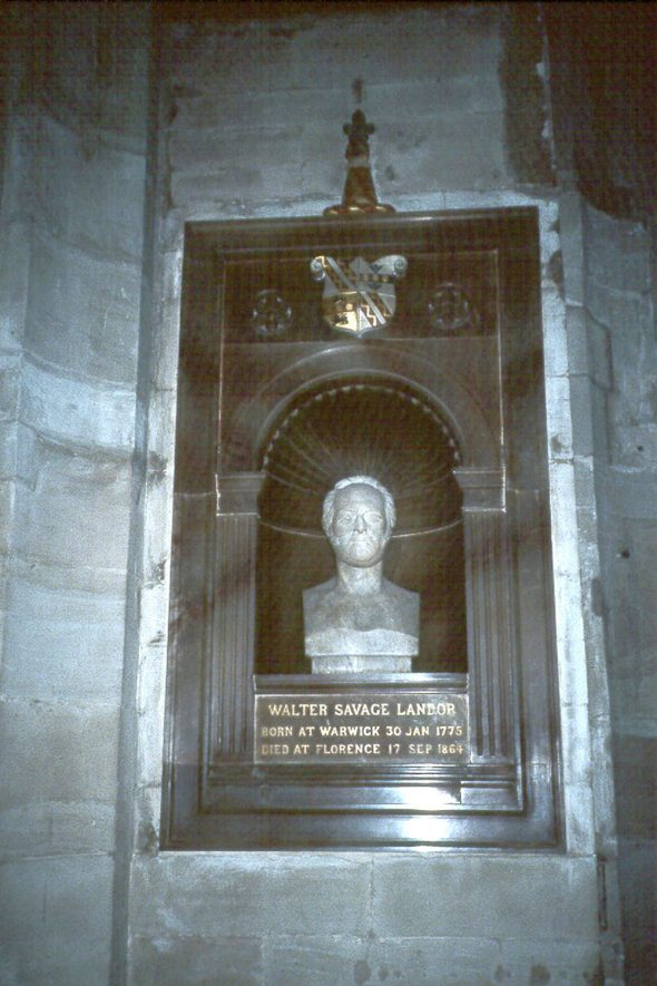 The Monument to Walter Savage Landor, 1864, in St Mary's church, Warwick.  1980s |  IMAGE LOCATION: (Warwickshire County Record Office)