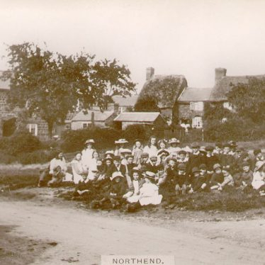 Northend.  Group of children on the green