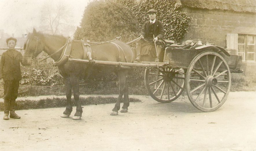 Two men with a horse and cart in Northend.  1910s |  IMAGE LOCATION: (Warwickshire County Record Office)