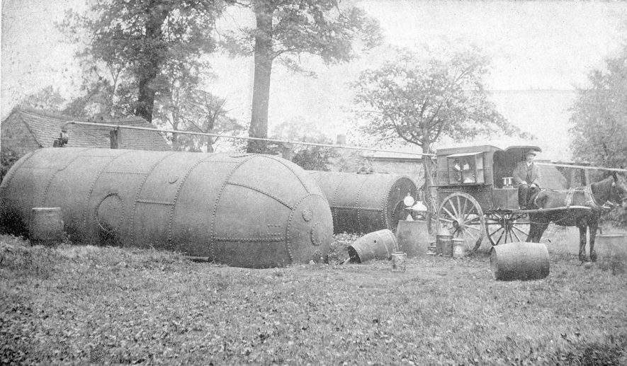 W Harrison's large storage tanks for lamp oils at Northend, which were noted for being the best American lamp oil.  1900s. |  IMAGE LOCATION: (Warwickshire County Record Office)