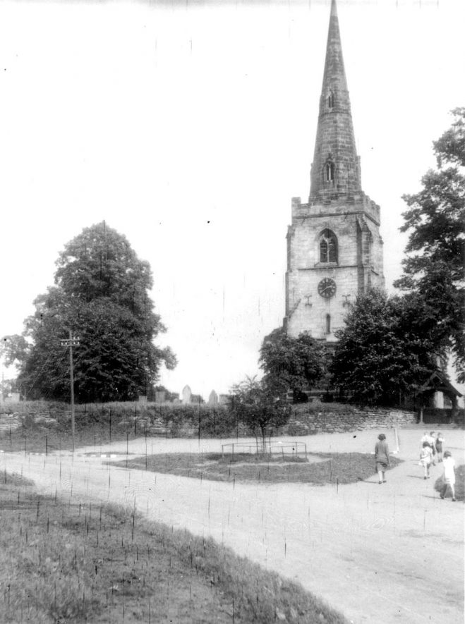 St Mary's church steeple, Newton Regis.  1944 |  IMAGE LOCATION: (Warwickshire County Record Office)
