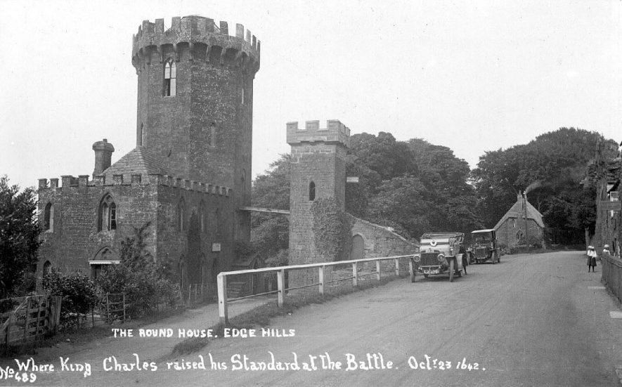 The Round House at Edgehill where King Charles raised his standard at the Battle of Edgehill.  1910s |  IMAGE LOCATION: (Warwickshire County Record Office)