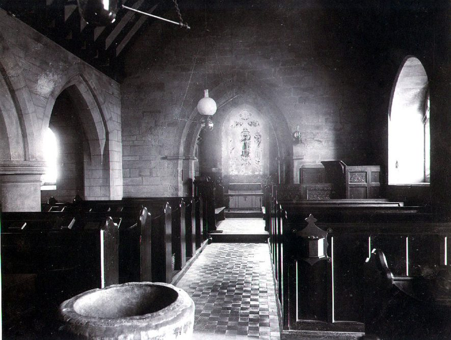 Interior of Holy Trinity church, Norton Lindsey.  1900s |  IMAGE LOCATION: (Warwickshire County Record Office)