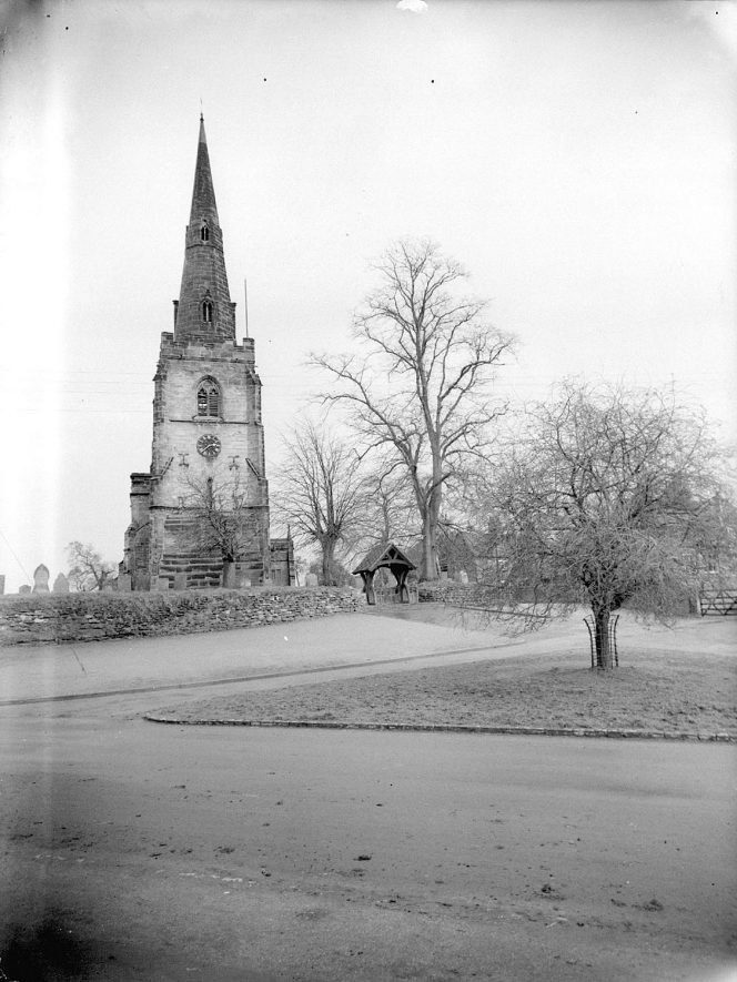 Newton Regis Parish Church, showing tower and entrance porch.  1959 |  IMAGE LOCATION: (Warwickshire County Record Office)