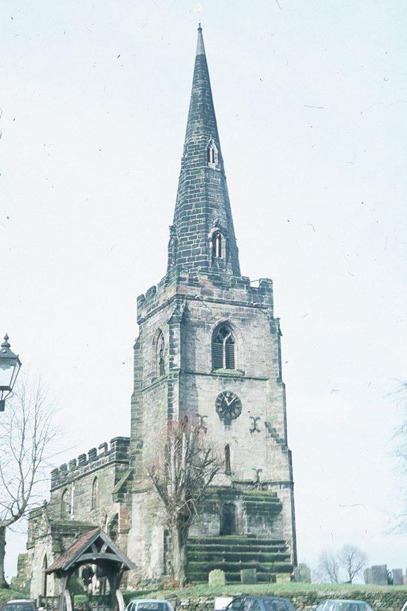 Newton Regis Parish Church, showing tower.  1987 |  IMAGE LOCATION: (Warwickshire County Record Office)