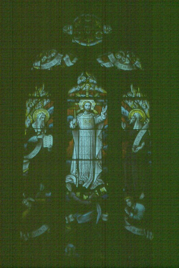 Stained glass window in Norton Lindsey parish church.  1978 |  IMAGE LOCATION: (Warwickshire County Record Office)