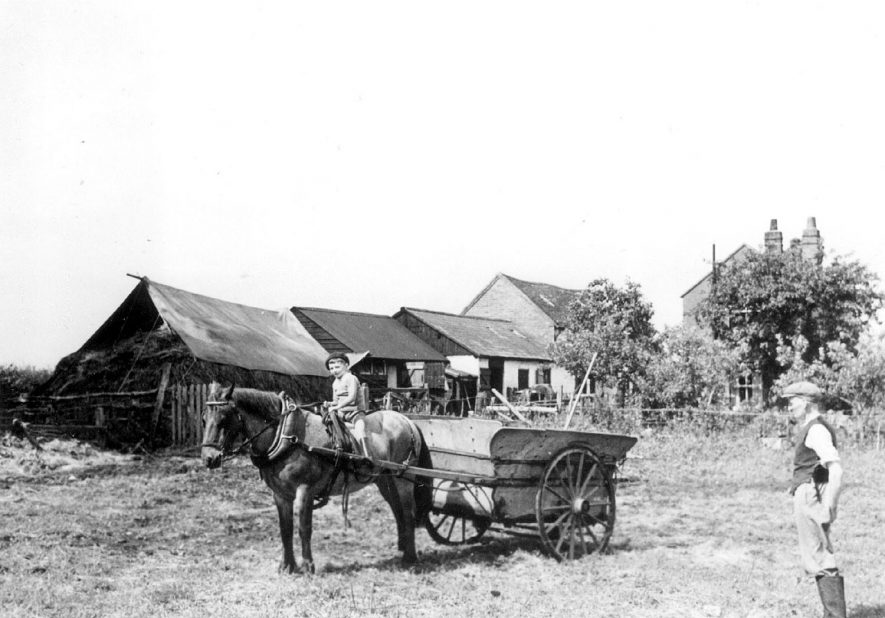 Old Kennels Farm on the Hampton Road, Warwick, inhabited by the Potter family.  Horse and cart, farm buildings in background.  Boy on horse, possibly Bob Potter, watched by Alf Newman.  1930s |  IMAGE LOCATION: (Warwickshire County Record Office) PEOPLE IN PHOTO: Potter, Bob, Potter, as a surname, Newman, Alf, Newman as a surname
