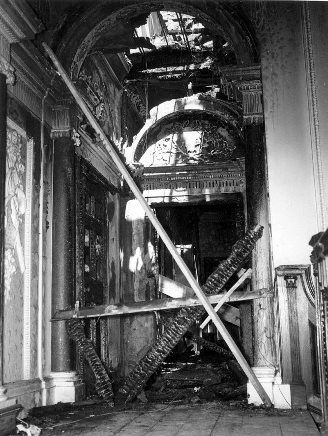 Stoneleigh Abbey interior, following the fire of 5th May 1960. |  IMAGE LOCATION: (Warwickshire County Record Office)