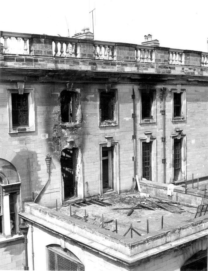 Stoneleigh Abbey, part of exterior, following the fire of 5th May 1960. |  IMAGE LOCATION: (Warwickshire County Record Office)