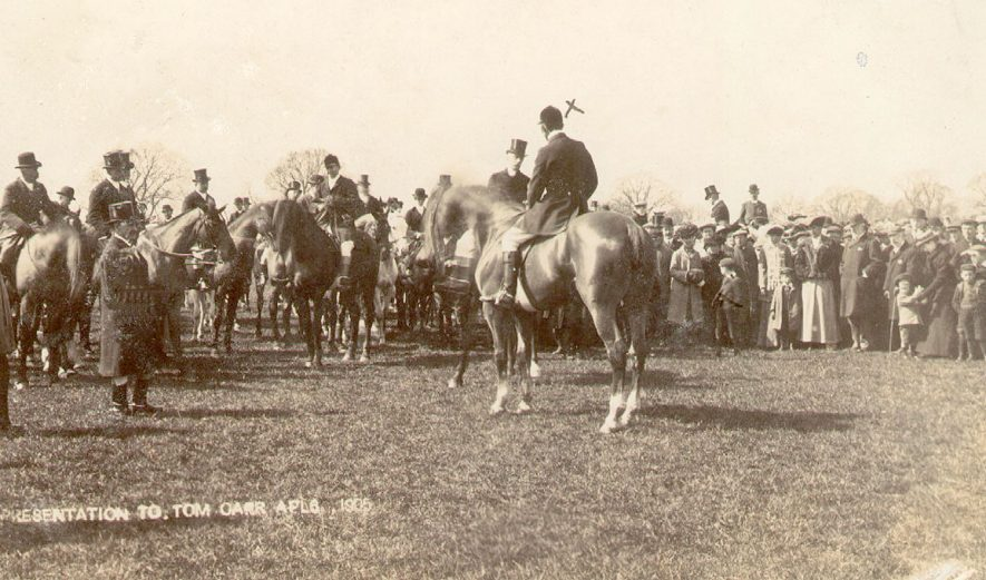 Presentation to Tom Carr, Chief Huntsman to the Mid-Warwickshire Hunt for 23 years.  1905 |  IMAGE LOCATION: (Warwickshire County Record Office) PEOPLE IN PHOTO: Carr, Tom, Carr as a surname
