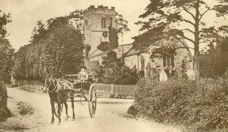 St Gregory's church with a pony and trap standing in the road, Offchurch.  1900s |  IMAGE LOCATION: (Warwickshire County Record Office)