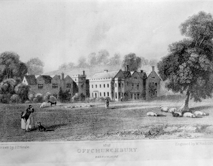 Offchurch Bury.  A photograph of an engraving by W. Radcliffe of 1818.  1958    IMAGE LOCATION: (Warwickshire County Record Office)