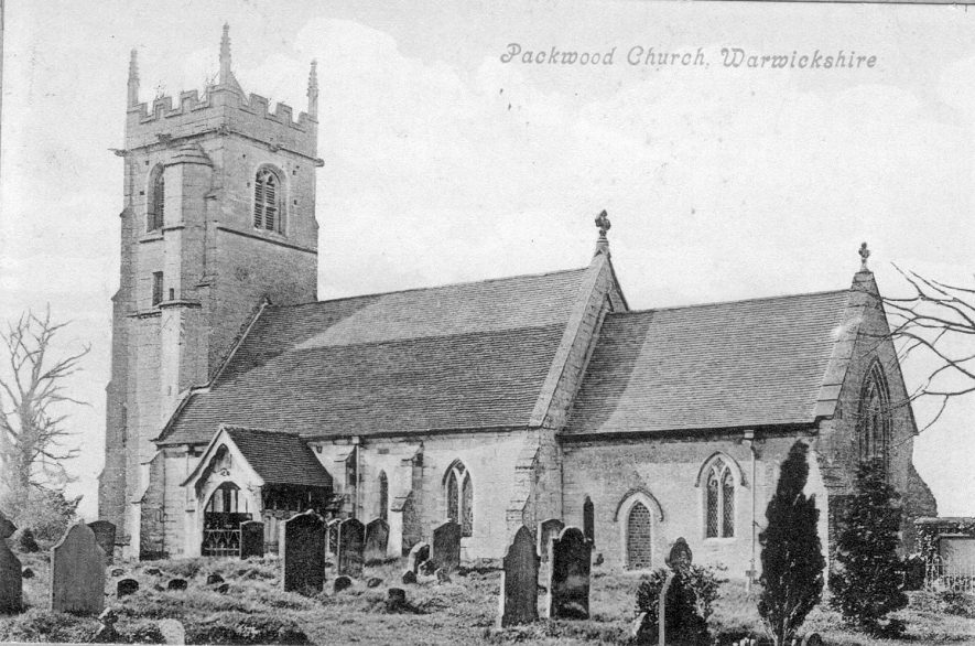 Church of St Giles, Packwood, from the South East.  1900s